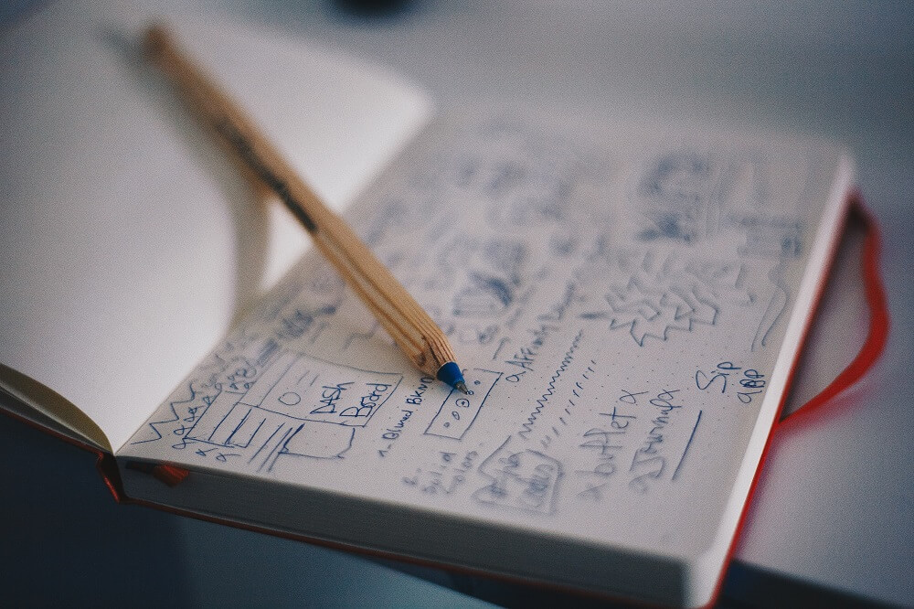 文字がびっしり書き込まれた手帳